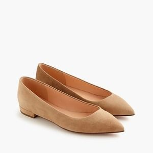 J. Crew Ashen Camel Suede Pointed Toe Flats 8.5